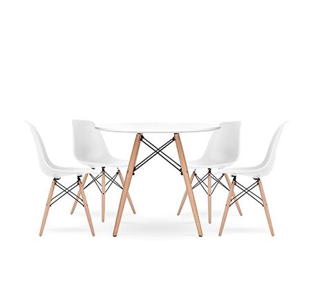 שולחן פינת אוכל עגול מעץ וארבע כיסאות בעיצוב מודרני ובמגוון צבעים וגדלים לבחירה  - תמונה 4