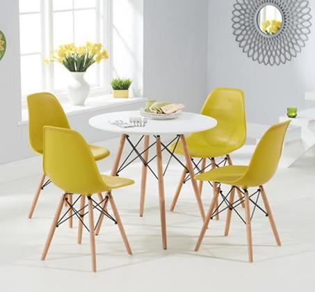 שולחן פינת אוכל עגול מעץ וארבע כיסאות בעיצוב מודרני ובמגוון צבעים וגדלים לבחירה  - תמונה 2