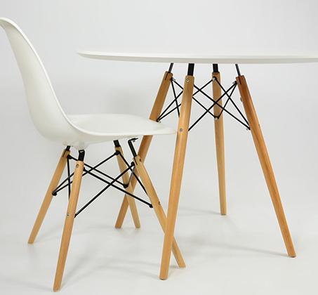 שולחן פינת אוכל עגול מעץ וארבע כיסאות בעיצוב מודרני ובמגוון צבעים וגדלים לבחירה  - תמונה 7