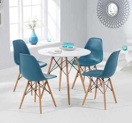 שולחן פינת אוכל עגול מעץ וארבע כיסאות בעיצוב מודרני ובמגוון צבעים וגדלים לבחירה  - תמונה 3
