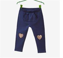 מכנס פוטר OVS לילדות בצבע כחול כהה עם הדפס לבבות נוצצים