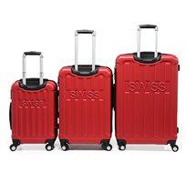 סט 3 מזוודות קשיחות Swiss דגם Texas בגדלים 28 | 24 | 20 אינטש בעלות גלגלי גומי ומנעול מובנה