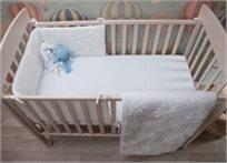 סט מצעים 3 חלקים למיטת תינוק 100% כותנה - פרח לבן