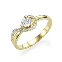 """טבעת אירוסין זהב צהוב """"ויקי"""" 0.51 קראט יהלומים"""
