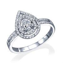"""טבעת יהלומים """"טיפה"""" 0.72 קראט זהב לבן"""
