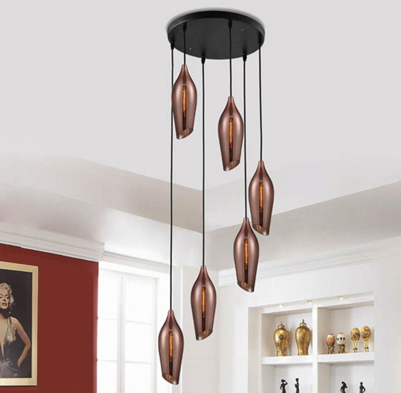 מנורת תליה מעוצבת בסגנון מודרני דגם דנאל 6 קופר