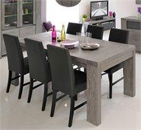 פינת אוכל נפתחת מעץ מלא הכוללת שולחן מפואר + 6 כיסאות בגימור אלון מעושן מבית HOME DECOR