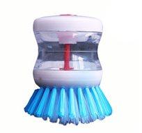 מברשת הפלא! מברשת זיפים קשה לשטיפת כלים עם מיכל לסבון לניקוי מהיר, יעיל וחסכוני בחומר ובזמן