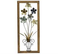 קישוט קיר מתכתי עם מסגרת בצורת כד פרחים
