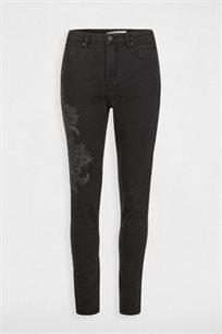 מכנסי ג'ינס בעיטור רקמת אבנים MORGAN - אפור כהה