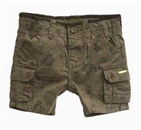 מכנסי דגמח קצרים לתינוקות וילדים בצבע ירוק חאקי עם הדפס