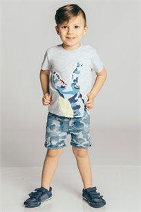 חולצת טריקו קצרה בהדפס תנין לבנים Kiwi בצבע אפור בהיר