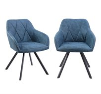 זוג כורסאות עיצוב עם רגלי מתכת דגם אוסטין כחול