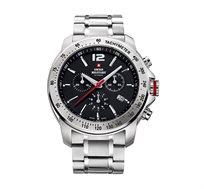 שעון יד כרונוגרף שוויצרי לגבר SWISS MILITARY עשוי פלדת אל חלד עמיד במים עד 100 מטר
