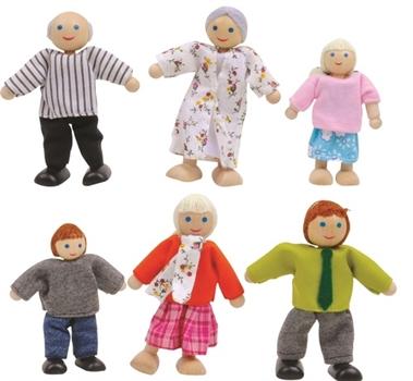 6 בובות משחק מעץ ובד