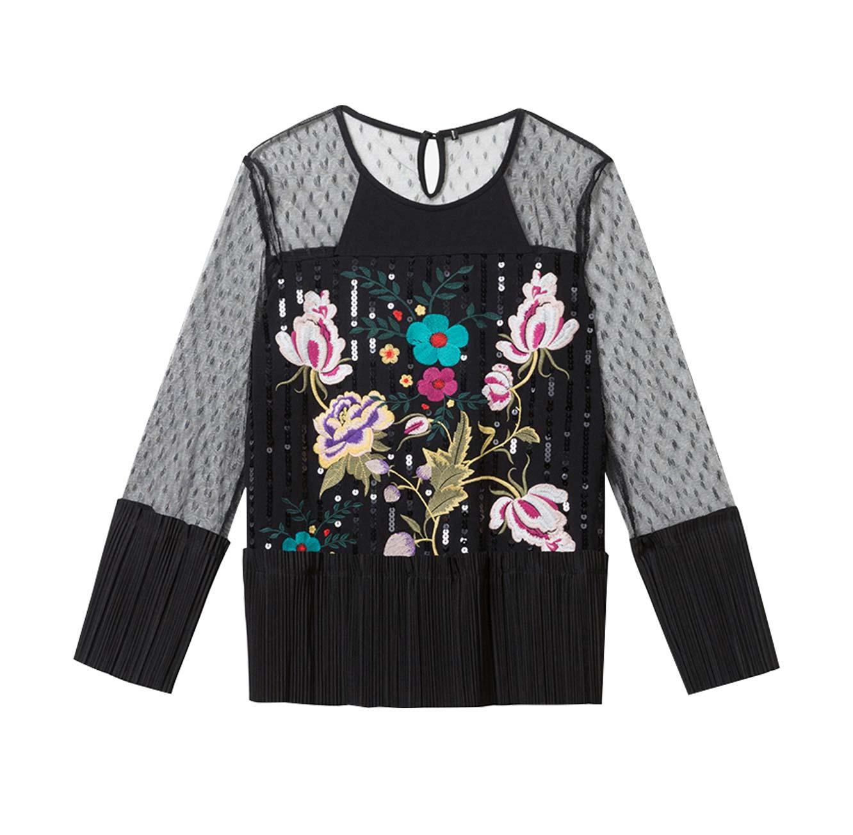 חולצת תחרה פרחונית לנשים Floral - שחור