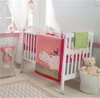סט מצעים 3 חלקים למיטת תינוק 100% כותנה סאטן - היפו ורוד