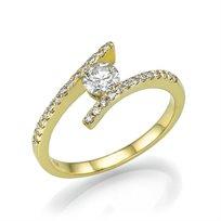 טבעת אירוסין זהב צהוב שאנון 0.70 קראט מעוצבת בסגנון חדשני ונוצץ