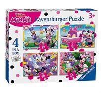 קופסא המכילה 4 משחקי פאזל בדמויות מיני מאוס מבית Ravensburger