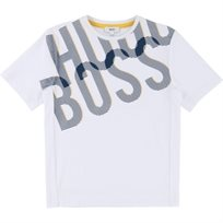 BOSS בוס טישרט (16-5 שנים) לבן לוגו ענק