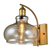 מנורת קיר פעמון שון ביתילי העשוי זכוכית בגוון קוניאק בשילוב גוף ובית מנורה מתכתי בגימור נחושת