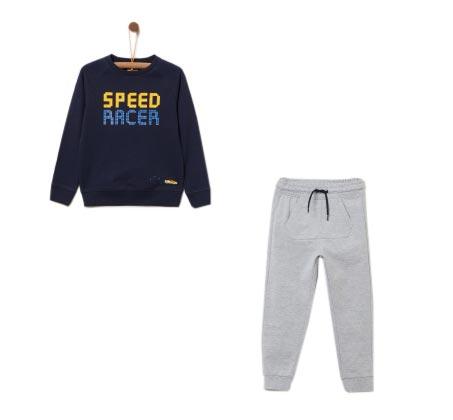 חליפת ספורט עם הדפס לילדים - כחול נייבי
