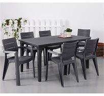 סט אוכל מעוצב בקווים נקיים כולל שולחן פטרה ו-6 כסאות דגם איביזה