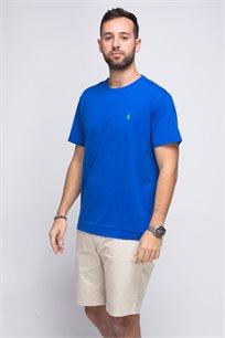 חולצת טישרט כחולה צווארון עגול לוגו ירוק POLO RALPH LAUREN
