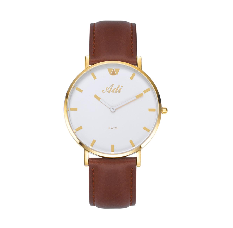 שעון יד אנלוגי אופנתי עמיד במים לגברים - זהב
