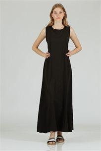 שמלה סאטן חגורה שחור - קקאוCUBiCA