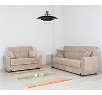 מערכת ישיבה לסלון 3+2 דגם Stella נפתחת למיטה כוללת ארגז מצעים ושתי כריות מתנה SIRS