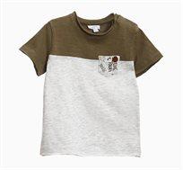 חולצת טי קצרה OVS לתינוקות עם כיס - אפור/ירוק