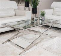 שולחן לסלון בשילוב זכוכית ומתכת בעיצוב אלגנטי