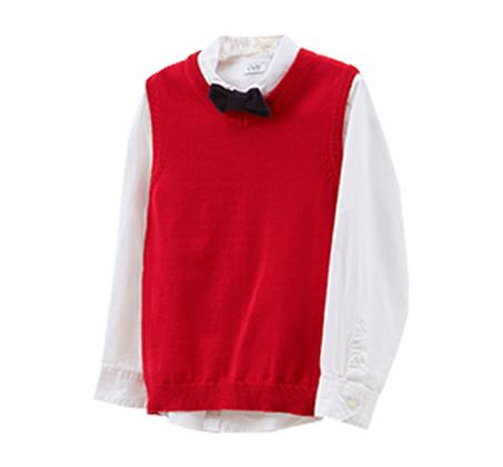 סט של חולצה OVS וסט ועניבת פפיון לילדים - לבן