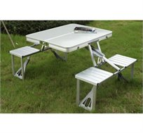 שולחן אלומיניום + 4 כיסאות המתקפלים בתוך מזוודה, נוח לאחסון בבית וברכב ומצוין לאירוח ולטיולים