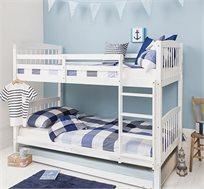 מיטת קומותיים מעץ אורן מלא בצבע לבן דגם DIANA