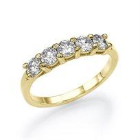 טבעת אירוסין זהב צהוב 5 יהלומים במשקל 1.01 קראט