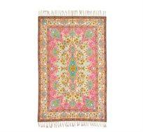 שטיח צמר בעבודת יד בגווני ורוד טורקיז במגוון גדלים לבחירה