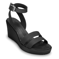 Crocs Leigh Wedge - נעלי עקב שחורות עם רצועות