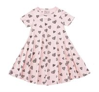 שמלה מסתובבת בהגזמה בצבע ורוד בשילוב הדפס לבבות