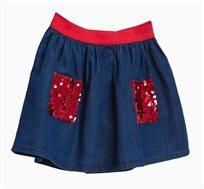 חצאית ג'ינס לילדות עם פאייטים אדומים