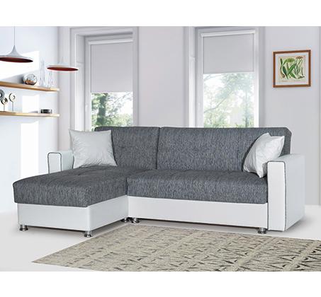 ספה פינתית נפתחת בריפוד דמוי עור משולב בד כוללת ארגז מצעים