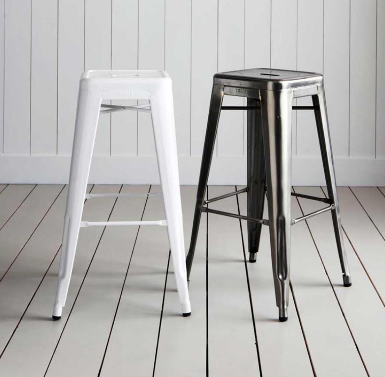 כסא בר מתכת בעיצוב מודרני ללא משענת בגוונים לבחירה  - תמונה 4