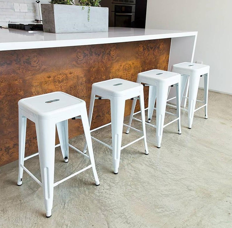 כסא בר מתכת בעיצוב מודרני ללא משענת בגוונים לבחירה  - תמונה 2