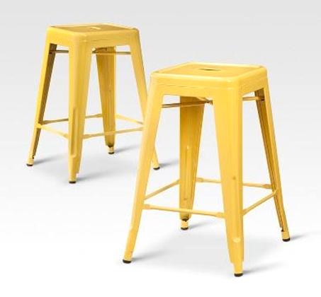 כסא בר מתכת בעיצוב מודרני ללא משענת בגוונים לבחירה  - תמונה 5