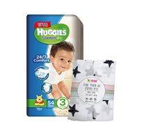 מארז 5 חבילות חיתולים Huggies Freedom Dry להגנה על עור התינוק + זוג חיתולי טטרה MINENE מתנה