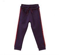 """מכנסי סטרץ """"מפוספסים"""" עם פסים עבים בצדדים לילדות בצבע אפור"""