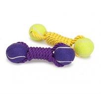 צעצוע משחק לכלבים זוג כדורים עם חבל Camon