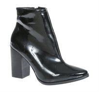 מגפי עקב לנשים בצבע שחור מבריק