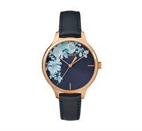 שעון יד מעוצב עם לוח פרחוני לנשים בצבע כחול